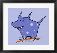Framed Purple Polka Dot Dog