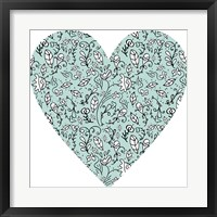 Framed Blue Flower Heart