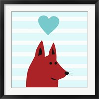Framed Happy Red Dog Love