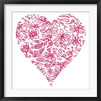 Framed Pink Flower Love Heart