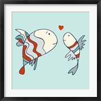 Framed Two Little Love Fish