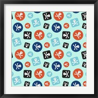 Pirate Badge Pattern Blue Framed Print