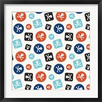 Pirate Badge Pattern Cream Framed Print