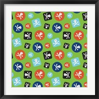 Pirate Badge Pattern Green Framed Print