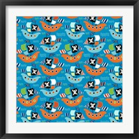 Pirate Ship Pattern Blue Framed Print