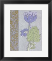 Blue Tulip With Left Border Framed Print