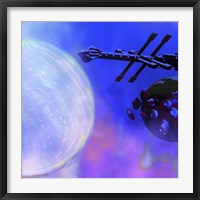 Framed Spaceship Passes a Moon and Orbiting Asteroids