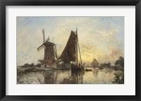 Framed Boats Near The Windmill, Holland, 1868