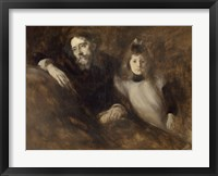 Framed Alphonse Daudet And His Daughter Edmee