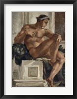 Framed Ignudo, After Michelangelo, 1858-1860