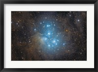 Framed Pleiades, an open star cluster in the Constellation of Taurus