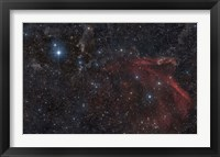 Framed Glowing and reflecting nebulosity in the Constellation of Lacerta