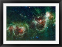 Framed Infrared mosaic of the Heart and Soul nebulae in the Constellation Cassiopeia