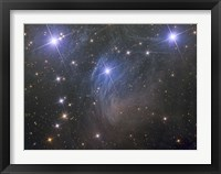 Framed Messier 45, the Pleiades, an open star cluster in the Taurus Constellation