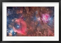 Framed Widefield view of Orion Nebula and Horsehead Nebula