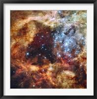Framed Stellar nursery known as R136 in the 30 Doradus Nebula