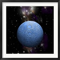 Framed Artist's depiction of a cratered moon in space with a Nebula in the background