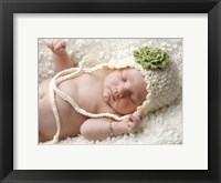 Baby White Cap Green Flower Framed Print