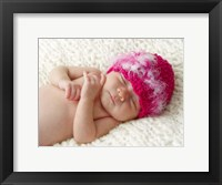 Baby In Pink Fuzzy Hat Framed Print