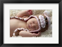 Baby Knit Monkey Hat Framed Print