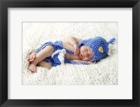 Baby In Blue Bird Knit Framed Print