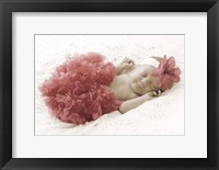 Baby In Pink Bowb Framed Print