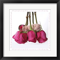 Tripp Baby On Roses Framed Print