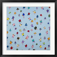 Framed Big Little Birds Blue