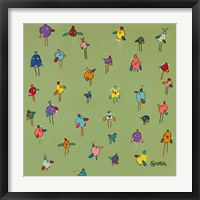 Little Birds - Green Framed Print