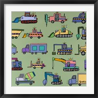 Under Construction Green Framed Print