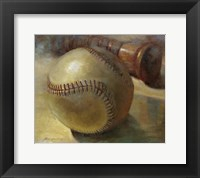 Framed Baseball with Bat
