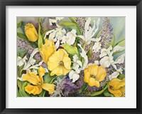 Framed Yellow Tulips, White Iris And Heather