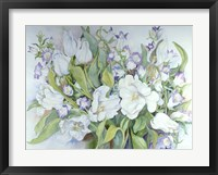 Framed White Tulips And Canterbury Bells