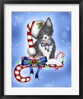 Candy Cane Kitten Framed Print