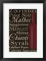 Framed Red Red Wine Bottles
