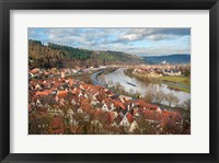 Framed View of Main River and Wertheim, Germany in winter