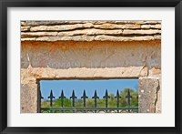 Framed Gate and Key Stone Carved with Montrachet
