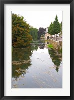 Framed River Serein Flowing Through Chablis in Bourgogne, France