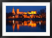Framed Pope's Palace in Avignon and the Rhone River