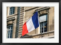 Framed French Flag Facade of Justice Palace Paris, France
