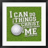 Framed I Can Do All Sports - Golf