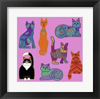 7 Cats Framed Print