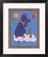 Cat on Cloud Framed Print