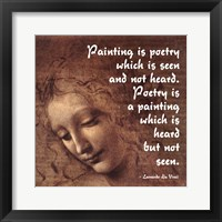 Framed Painting is Poetry -Da Vinci Quote 2