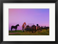 Framed Purple Dawn And Wagons