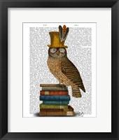 Owl On Books Framed Print