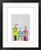Beach Huts 1 Illustration Framed Print