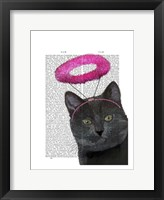 Black Cat With Pink Angel Halo Framed Print