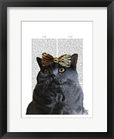 Grey Cat with Leopard Bow Framed Print