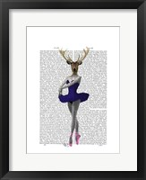 Ballet Deer in Blue I Framed Print